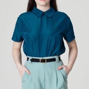American Apparel Silk Peter Pan Collar Blouse